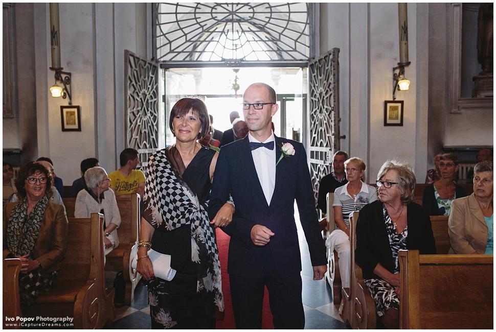 Groom enters church