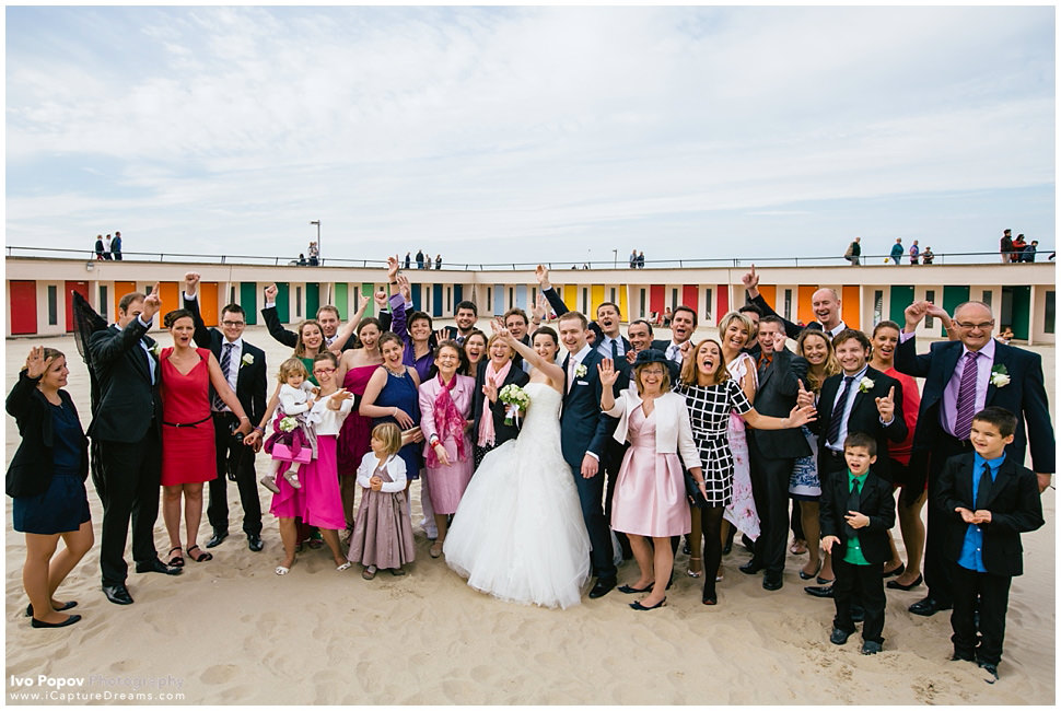 Beach wedding group photo