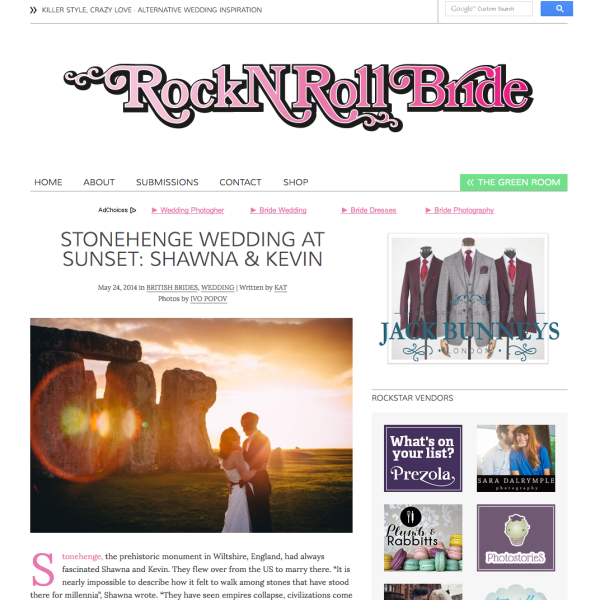 Wedding featured on the Rock n Roll Bride and FlyAway Bride