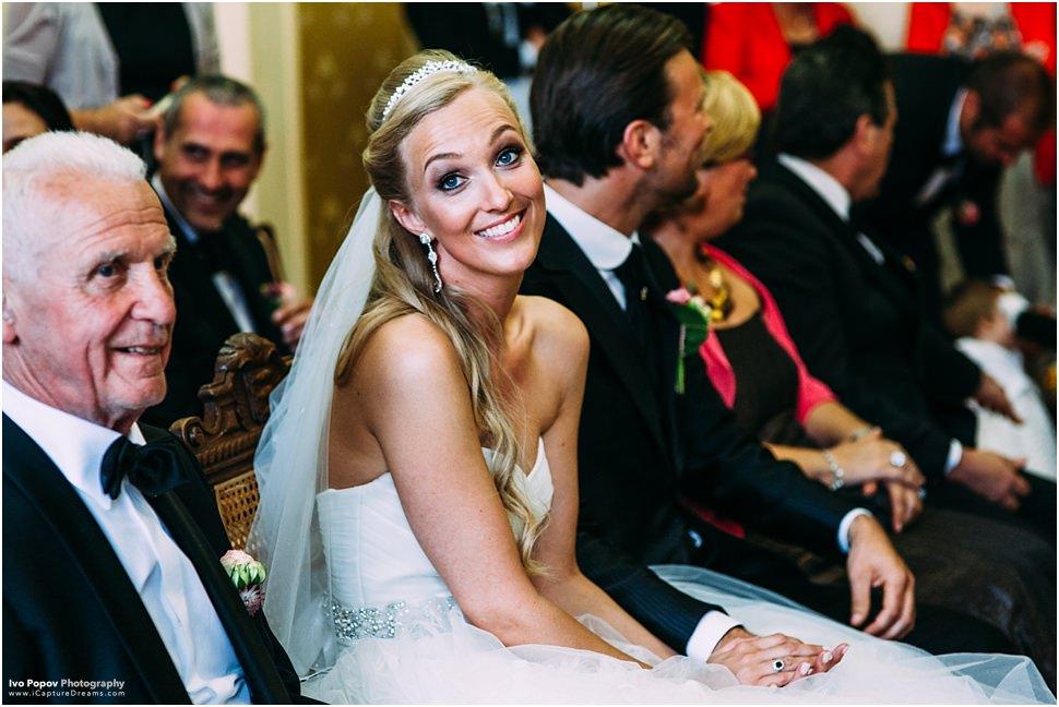 Smiling belgian bride