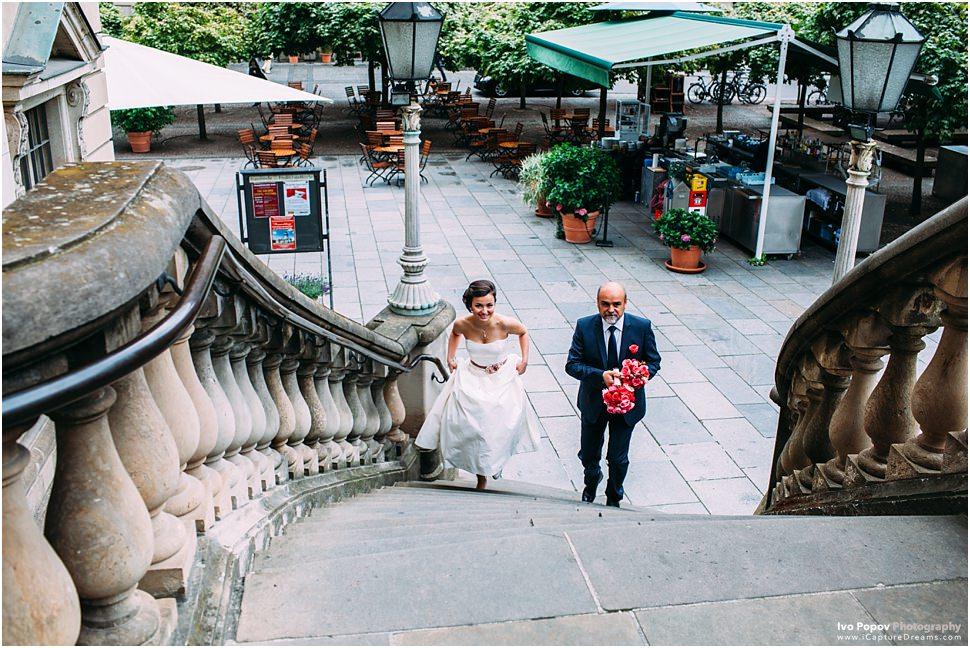 Bride running for church