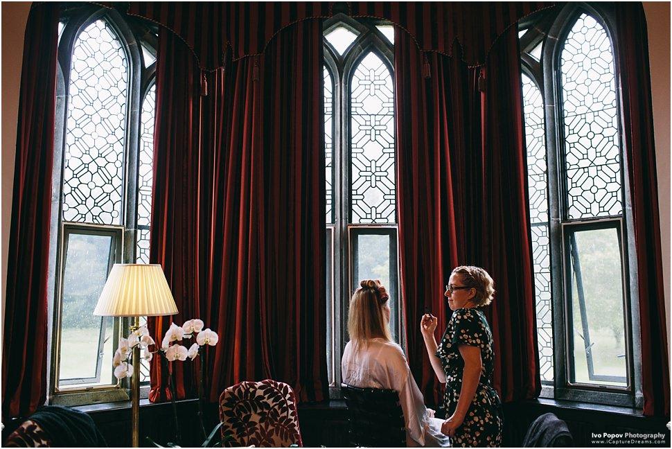 Bride getting ready in Adare Manor