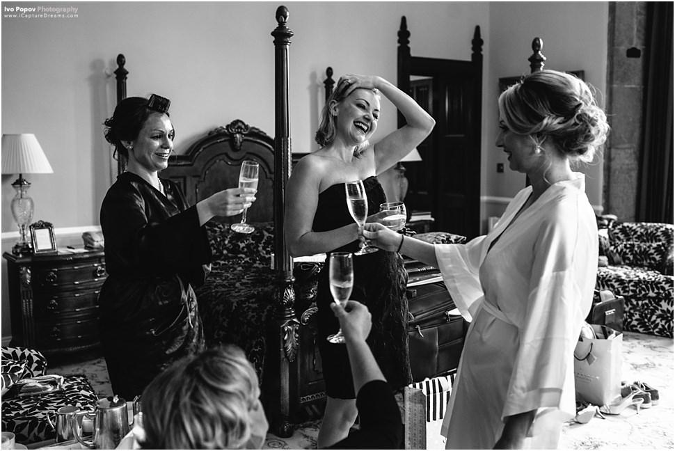 Bridesmaids having fun in Adare Manor