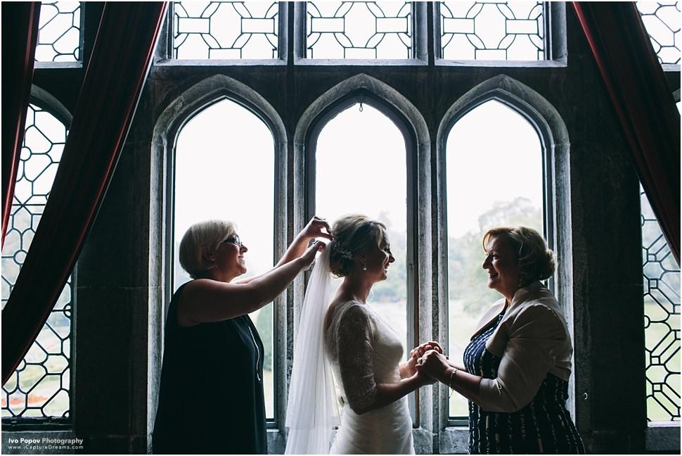Bride putting dress in Adare Manor
