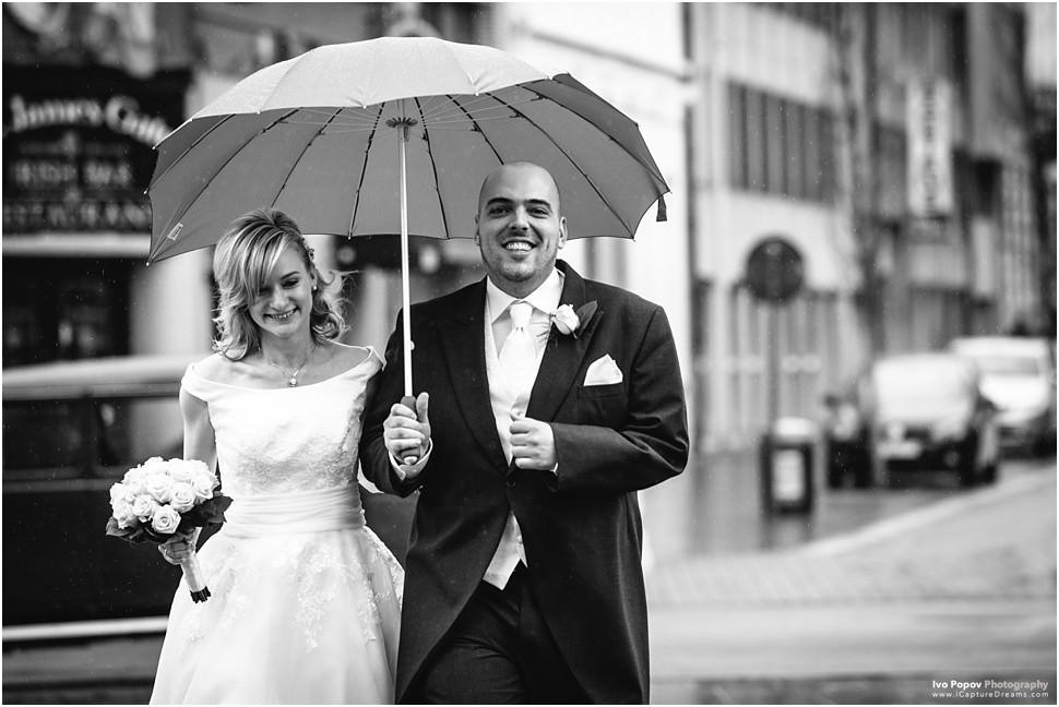 Bride and groom walking happy