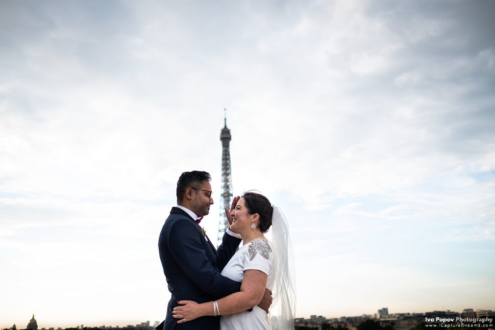 Bride and groom reacting during an elopement in Paris